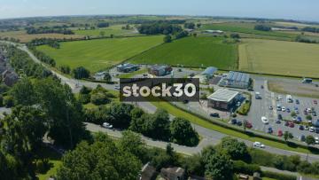 Drone Shot Orbiting Roadside Services Area In Fylde, Lancashire, UK