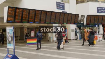 Birmingham New Street Railway Station Departures Boards, Lots Of People, Close Up,  UK