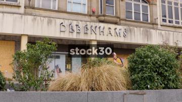 Closed Down Debenhams Department Store In Nottingham, People Passing By, UK