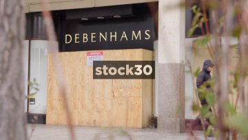 Closed Down And Boarded Up Debenhams Department Store In Nottingham, UK