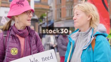 Two Extinction Rebellion Climate Change Activists In Nottingham, UK