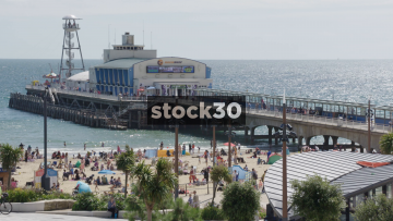 Wide shot of Bournemouth Pier, UK