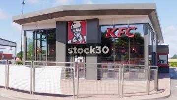 KFC Drive Thru, Wide And Close Up, UK