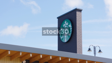 Starbucks Drive Thru, Zoom In To Sign And Wide Shot, UK