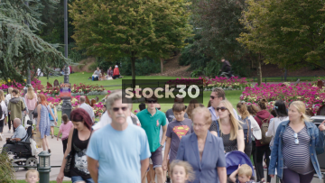 People Walking In Bournemouth Parks, UK