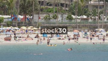 Anfi Beach In Mogan, Las Palmas In Gran Canaria. Slow Zoom Out