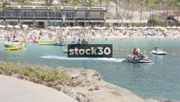 Jet Ski Towing Inflatable At Anfi Beach, Mogan, Las Palmas, Gran Canaria