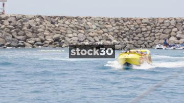 Crazy Jet Powerboat Arriving At Anfi Beach In Mogan, Las Palmas In Gran Canaria