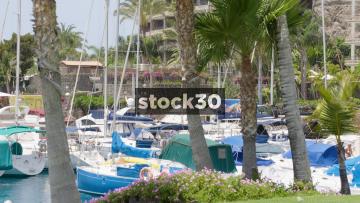 Harbour With Boats At Anfi Beach In Mogan, Las Palmas In Gran Canaria
