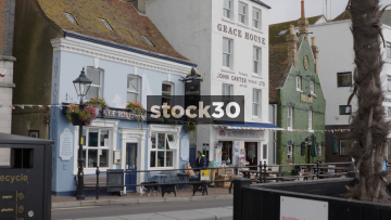 Various Pubs Along The Quay In Poole, UK