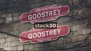 3 Signs At Goostrey Station In Cheshire, UK