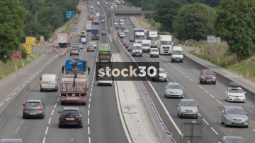 Busy M6 Motorway Near Junction 18 In Cheshire, UK