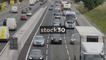 Close Up Of Traffic On Busy M6 Motorway Near Junction 18 In Cheshire, UK