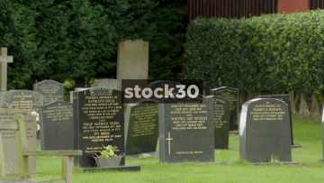 Graveyard At St John The Evangelist Church In Toft, Cheshire, UK