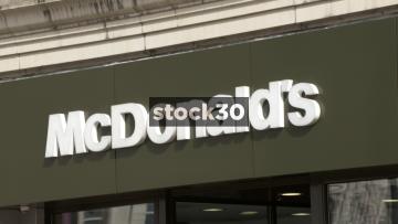 McDonald's, Manchester. Close Up On Sign. UK