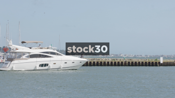 Luxury Yacht Leaving Poole Harbour, UK