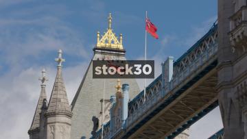 Flags On Top Of Tower Bridge In London, UK