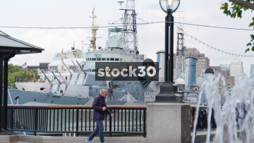 Slow Motion Shot Of HMS Belfast Through A Fountain In London
