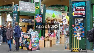 Wine Stall At Borough Market In London, UK