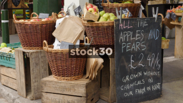 Apples And Pears Stall At Borough Market In London, UK