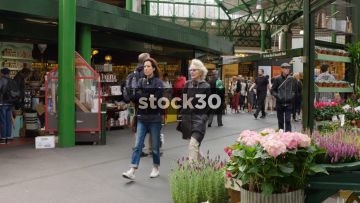 Slow Motion Shot Inside Borough Market In London, UK