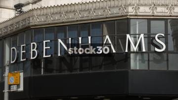 Debenhams, Manchester. Close Up On Sign. UK