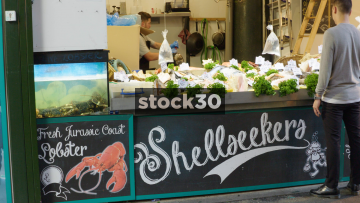 Shellseekers Fish Stall At Borough Market In London, UK
