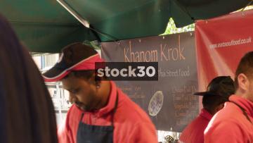 Khanom Krok Thai Street Food Stall In London, UK