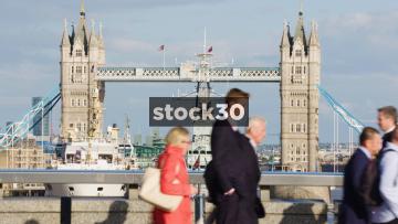 HMS Belfast And Tower Bridge In London, UK