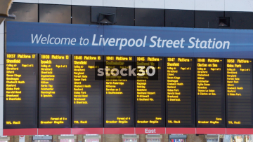 Departure Board At Liverpool Street Station In London, UK