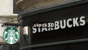 Starbucks Coffee, Manchester. Close Up On Sign. UK
