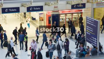 Slow Motion Shot Of Commuters Inside Liverpool Street Station In London, UK