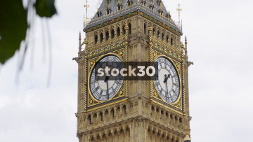 Clock Face Of Elizabeth Tower In London, UK