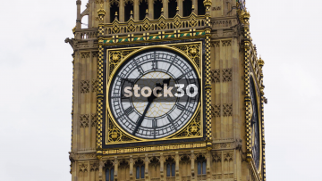 Clock Face Of Elizabeth Tower In London, UK