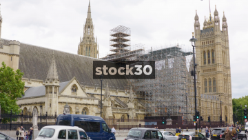 Westminster Palace With Scaffolding In London, UK