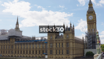 The Elizabeth Tower And The Palace Of Westminster In London, UK
