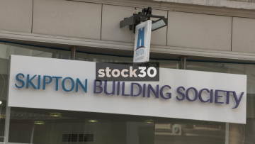 Skipton Building Society, Manchester. Close Up On Sign. UK