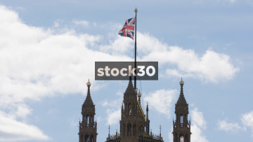 Slow Motion Union Jack At Westminster In London, UK