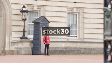 The Queens Guard And Gate Crest At Buckingham Palace In London, UK