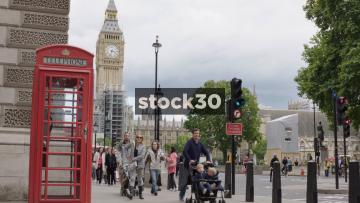 Elizabeth Tower And UK Phonebox In London, UK