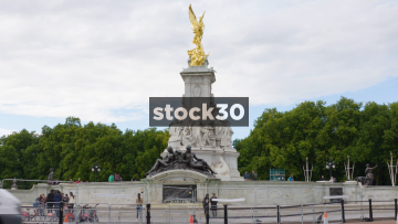 The Gilded Bronze Winged Victory Statue At Buckingham Palace In London, UK