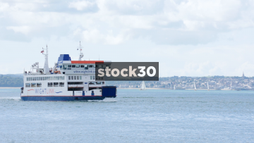 A Wightlink Ferry Passing On The Solent, UK