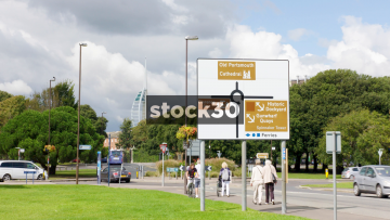 The Spinnaker Tower And Tourist Direction Sign In Portsmouth, UK