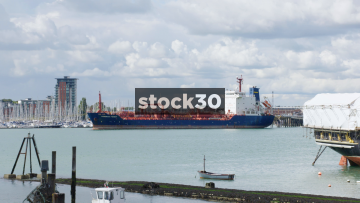 The Cumbrian Fisher Tanker In Portsmouth Harbour, UK