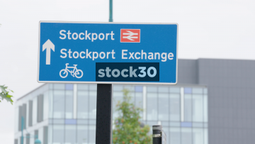 Various Tourist And Direction Signs In Stockport, UK
