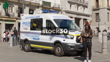 A Police Van In Madrid, Spain