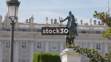 Monument Of Felipe IV Outside The Royal Palace Of Madrid, Spain