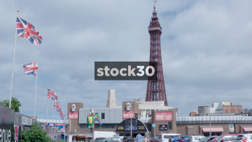 Blackpool Tower With Amusement Arcades And Union Jack Flags