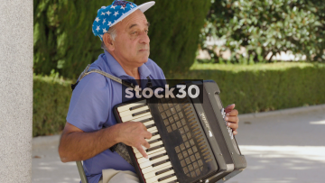 Man Playing The Accordion In Madrid, Spain