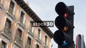 Traffic Lights Sequence In Madrid, Spain